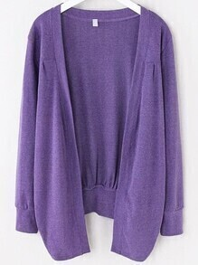 Purple Asymmetrical Ruched Cardigan