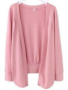 Pink Asymmetrical Ruched Cardigan