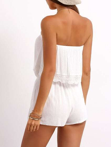 White Strapless Ruffle Drawstring Jumpsuit