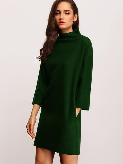 dunkeln Green High Neck Pockets Kleid