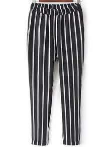 Elastic Waist Vertical Striped Pant