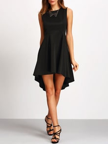 Black Sleeveless Asymmetrical Dress