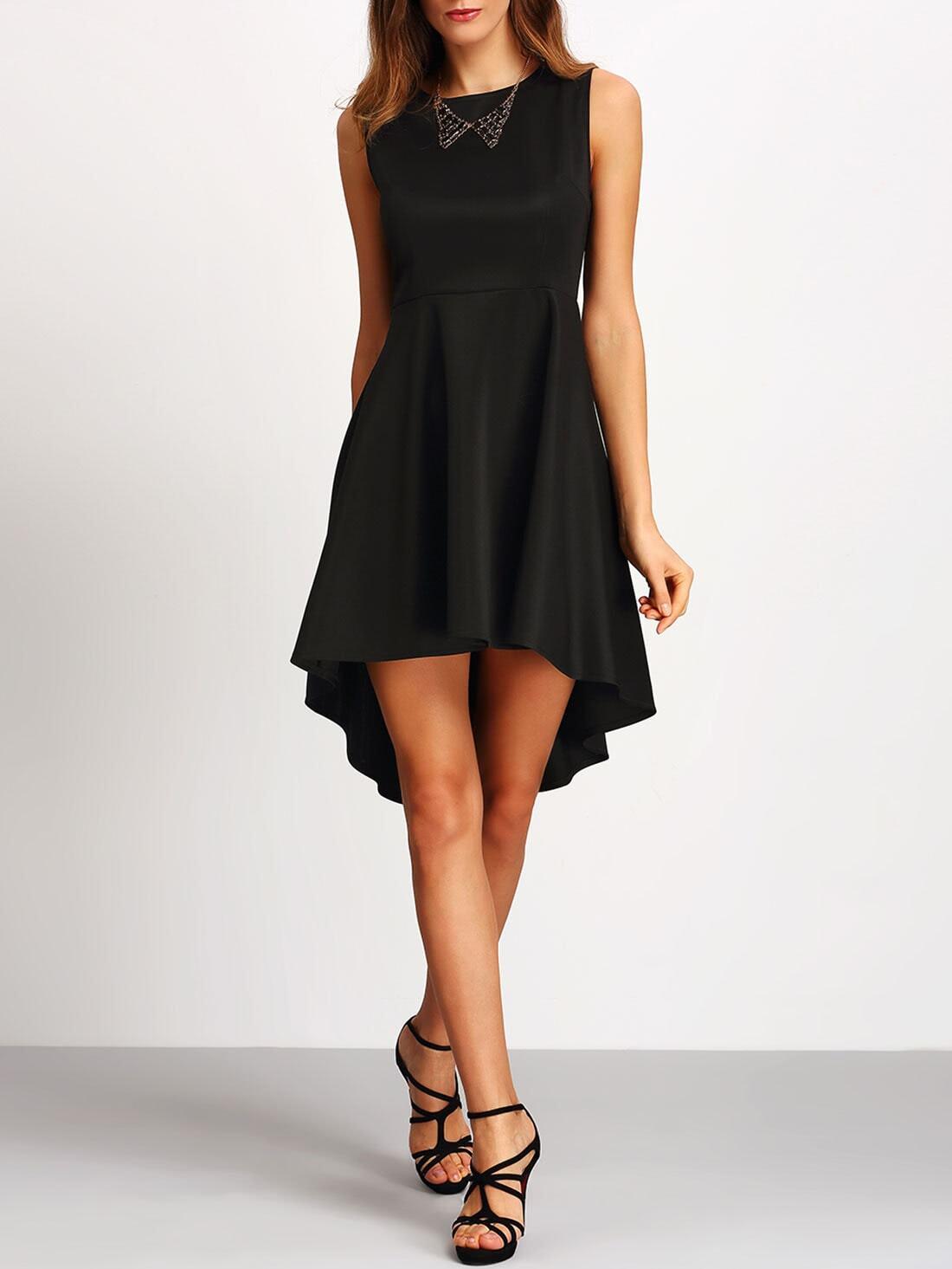 Black Sleeveless Asymmetrical Dress