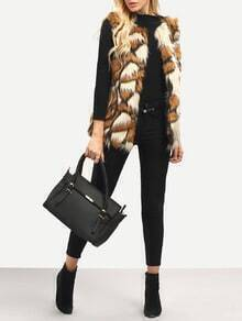 Brown Patchwork Faux Fur Feather Vest