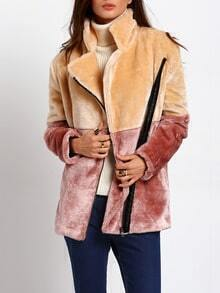 Apricot Brown Long Sleeve Lapel Faux Fur Coat