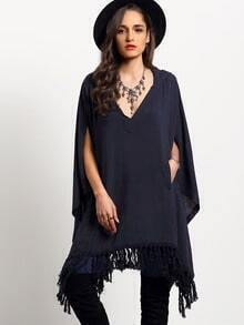 Navy Hooded V Neck Tassel Loose Cape