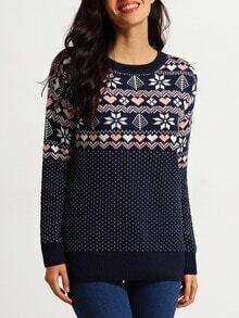 Navy Long Sleeve Snowflake Print Sweater