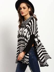 Black White Turtleneck Geometric Print Sweater