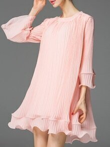 Pink Crew Neck Ruffle Pleated Dress