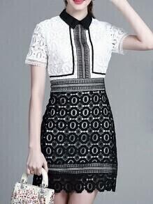 White Lapel Crochet Hollow Out Dress