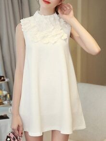 White Flowers Beading A-Line Dress