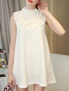 White Flowers Beading A-Line Dress
