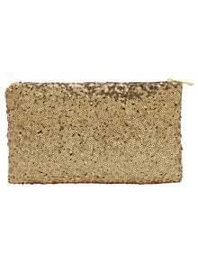 Bolso cremallera lentejuelas clutch -dorado