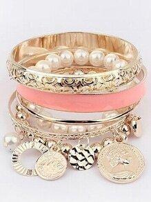 Pink Pearl Coin Bangles