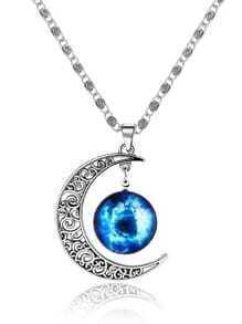 Silver Sun Moon Pendant Necklace