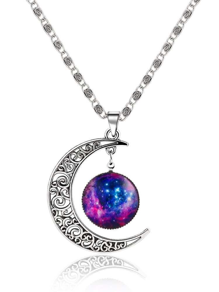 Silver sun moon pendant necklacefor women romwe mozeypictures Image collections