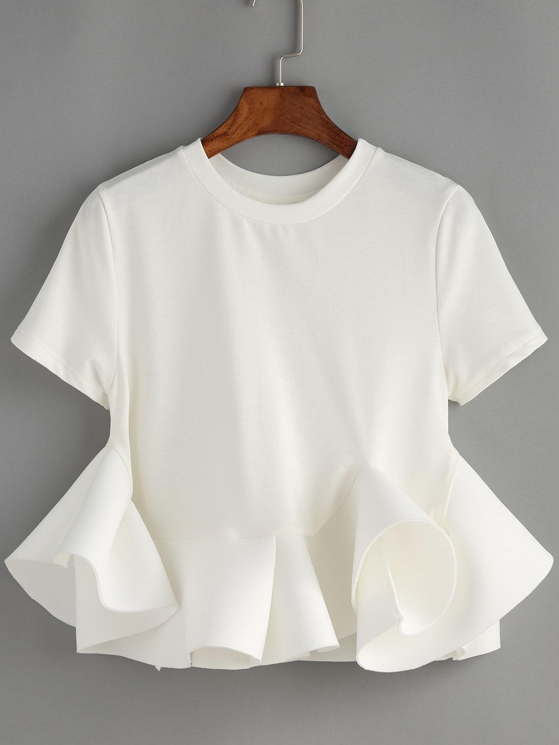 Белая Блузка С Воланом Купить