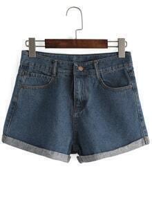 Cuffed Blue Shorts