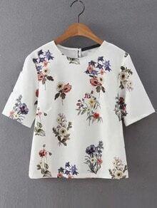 Flower Print Short Sleeve Blouse