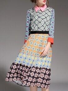Multicolor Lapel Tribal Print A-Line Dress