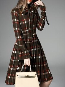 Brown Tie Neck Bell Sleeve Plaid Pleated Dress