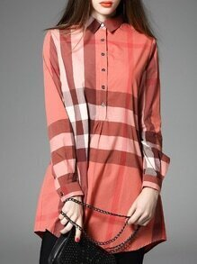 Orange Color Block Plaid Shirt Dress