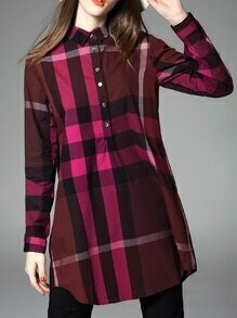 Burgundy Color Block Plaid Shirt Dress