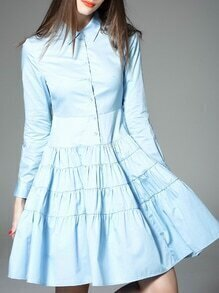 Blue Lapel Pleated A-Line Dress