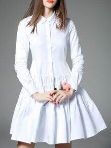 White Lapel Pleated A-Line Dress