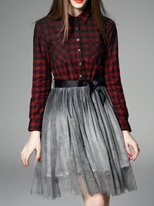 Red Lapel Plaid Contrast Gauze Tie-Waist Dress