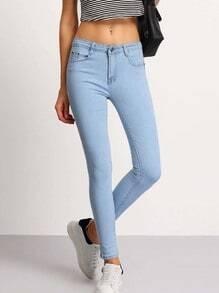 pantalon amincissant avec poches -bleu