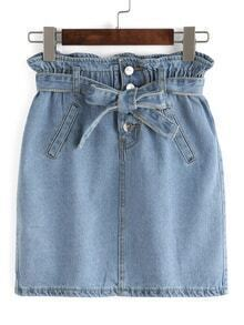 Bow-Tie Ruffled Waist Denim Skirt