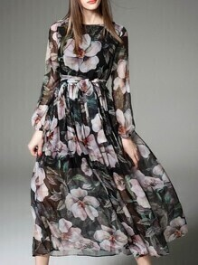 Black Tie-Waist Floral Maxi Dress