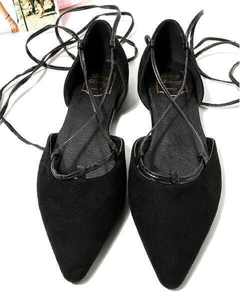 Faux Suede Lace-up Flats