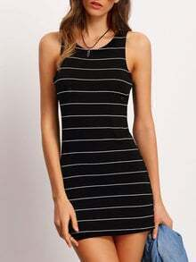 Black Crew Neck Striped Bodycon Dress