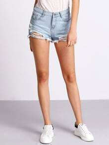 Light Blue Pockets Ripped Denim Shorts