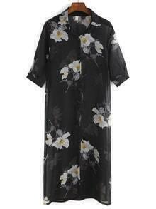 Semi Sheer Flowr Print Chiffon Kimono