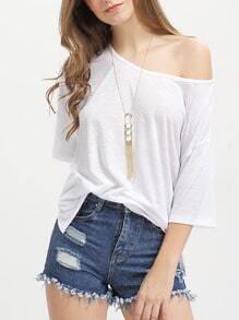 White Split Side Loose T-shirt