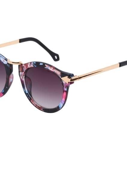 Multi-color Plastic Frame Metal Arms Sunglasses