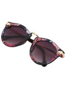 Multi-color Plastic Frame Metal Arms Sunglasses
