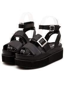 Strappy Oversized Buckle Chunky Platform Black Sandals