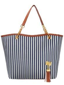 Blue Vertical Striped Tassel Canvas Shoulder Bag