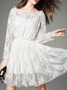 White Ruffle Elastic-Waist Lace Dress