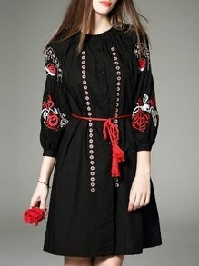 Black Embroidered Tie-Waist Dress