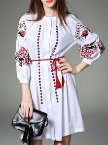 White Embroidered Tie-Waist Dress