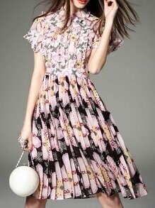Pink Lapel Ruffle Pleated Print Dress