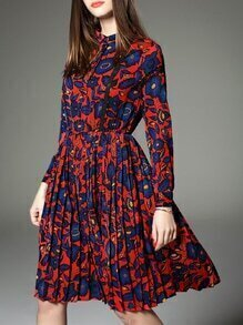 Red Pleated Print A-Line Dress