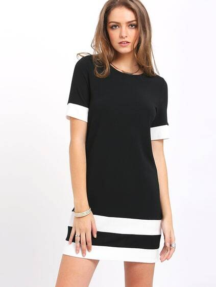 Black White Patchwork Short Sleeve Shift Dress