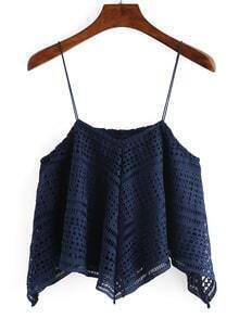 Cutout Crochet Assymetrical Cami Top