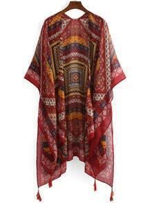 Tribal Print Tassel Trimmed Kimono